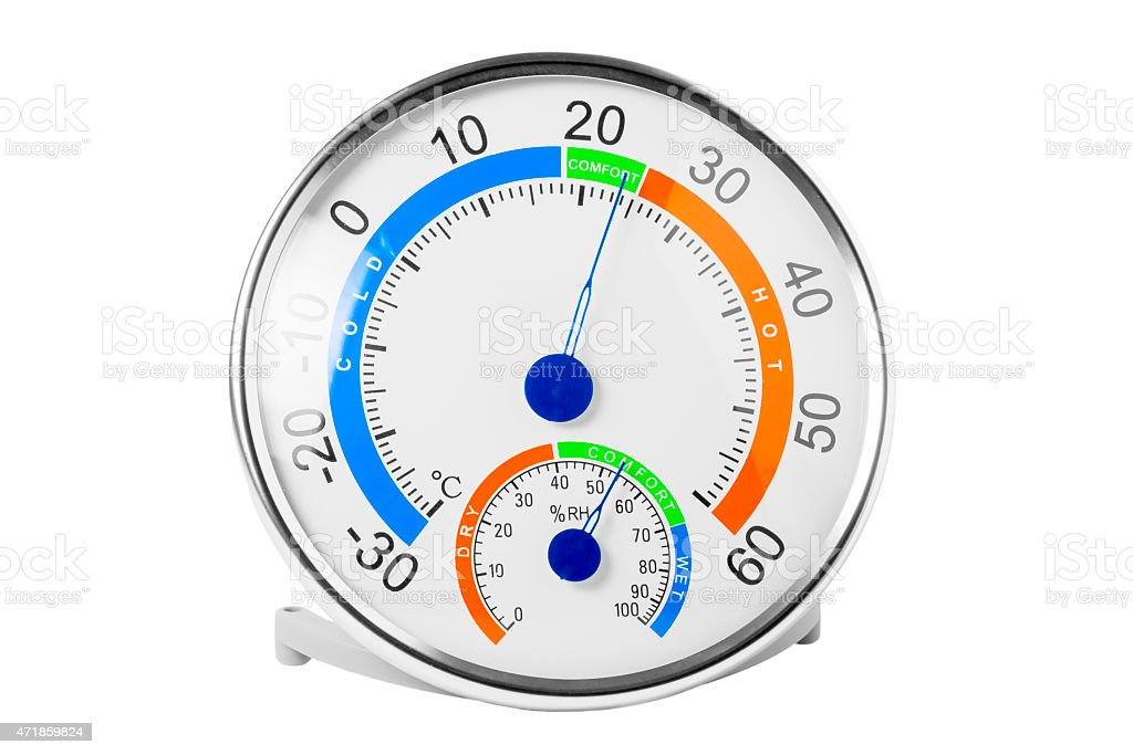 hygrometer shows a comfortable temperature and humidity stock photo