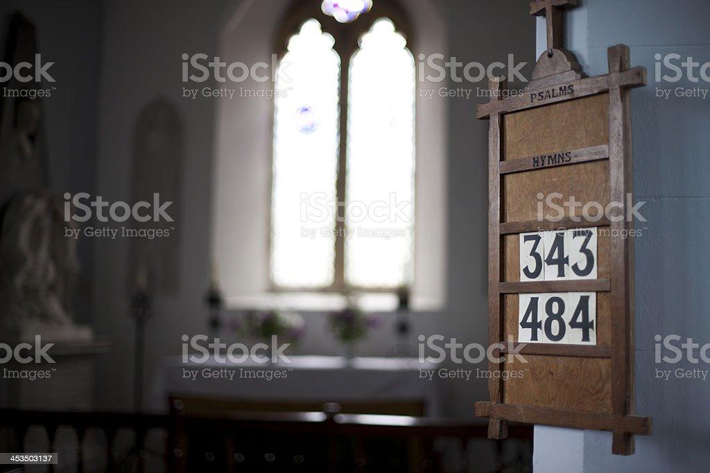 Hymn board stock photo