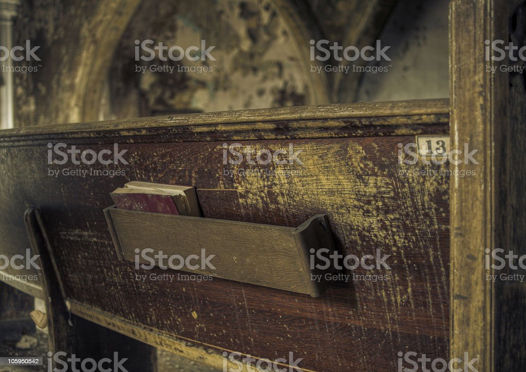 Hymnal Hymnary Hymnbook in Abandoned Church stock photo
