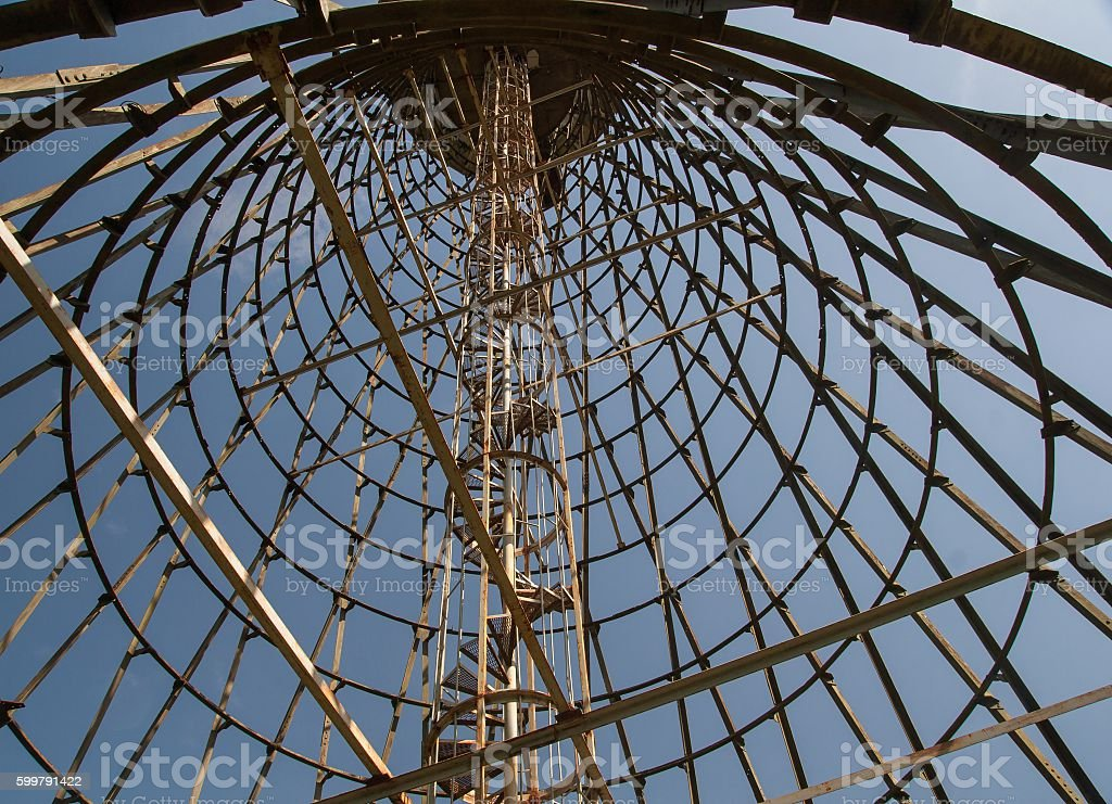 Hyperboloid tower from inside stock photo