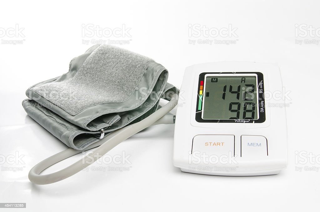 Hypertension digital blood pressure monitor royalty-free stock photo