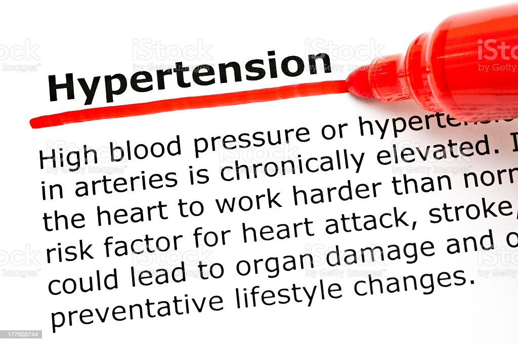 Hypertension underlined with red marker stock photo