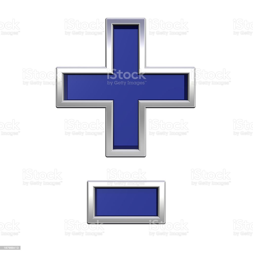 Hyphen, minus, plus marks from blue glass with chrome alphabet stock photo