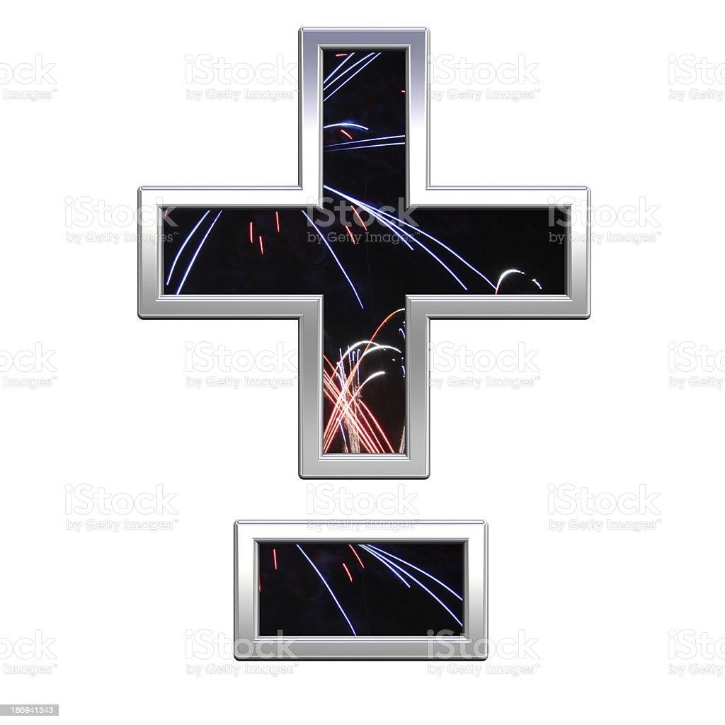 Hyphen, minus, plus marks from firework with chrome alphabet set royalty-free stock photo