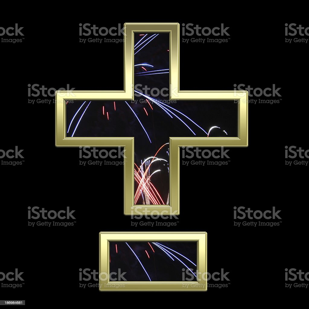 Hyphen, minus, plus marks from firework with gold alphabet set royalty-free stock photo