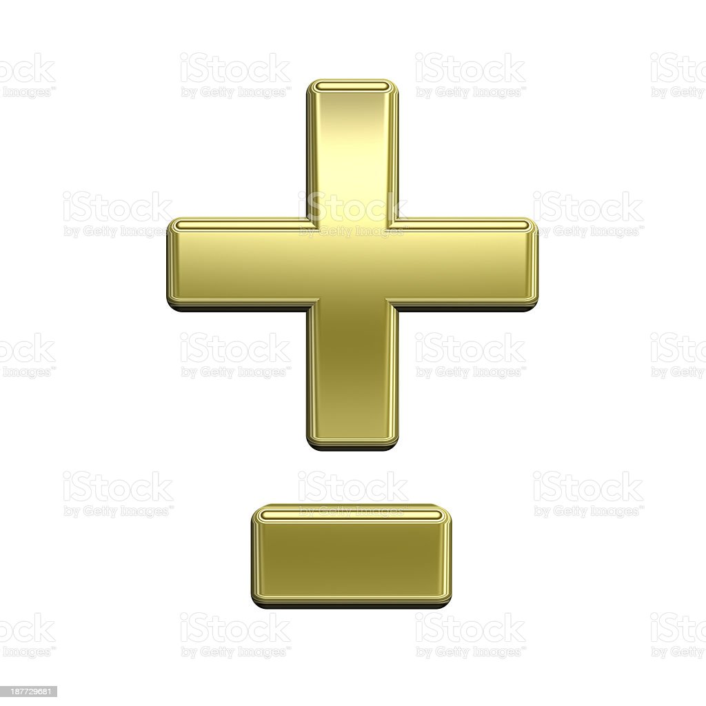 Hyphen, minus, plus marks from shiny gold alphabet set stock photo
