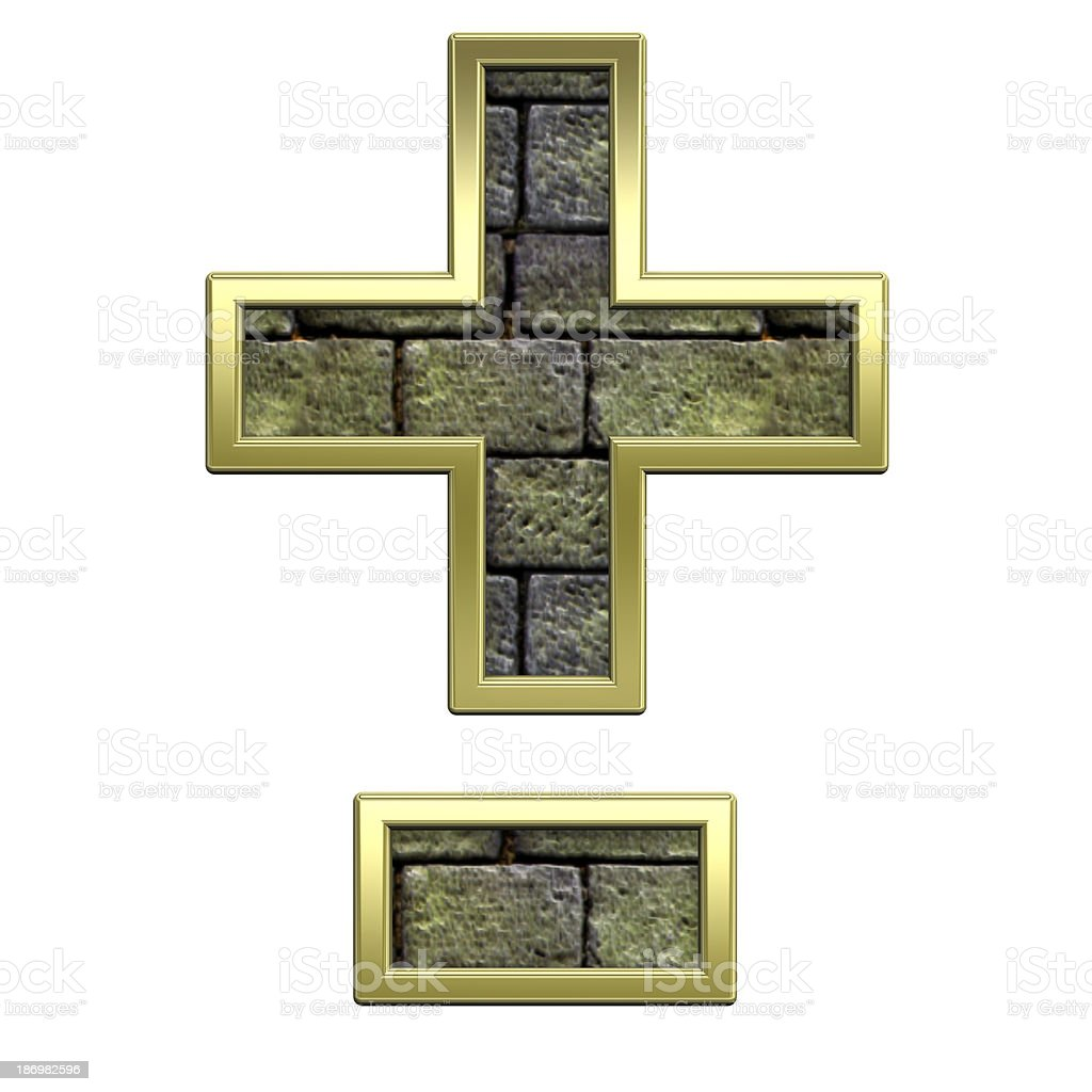 Hyphen, minus, plus marks from stone with gold frame alphabet royalty-free stock photo