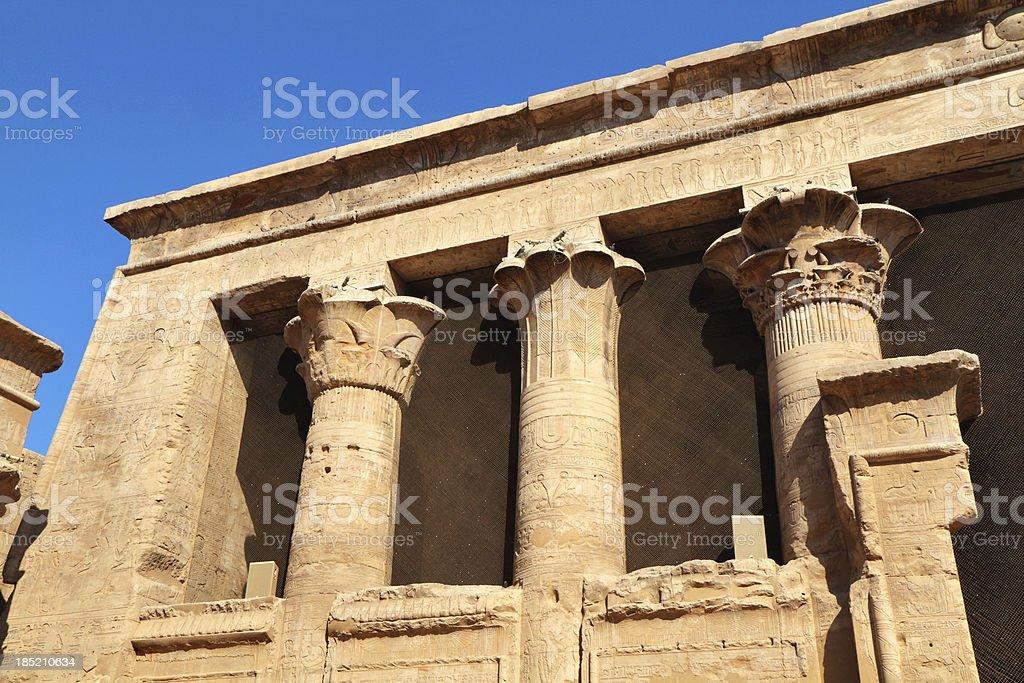Hypostyle Hall Facade, Temple of Horus, Edfu, Egypt stock photo