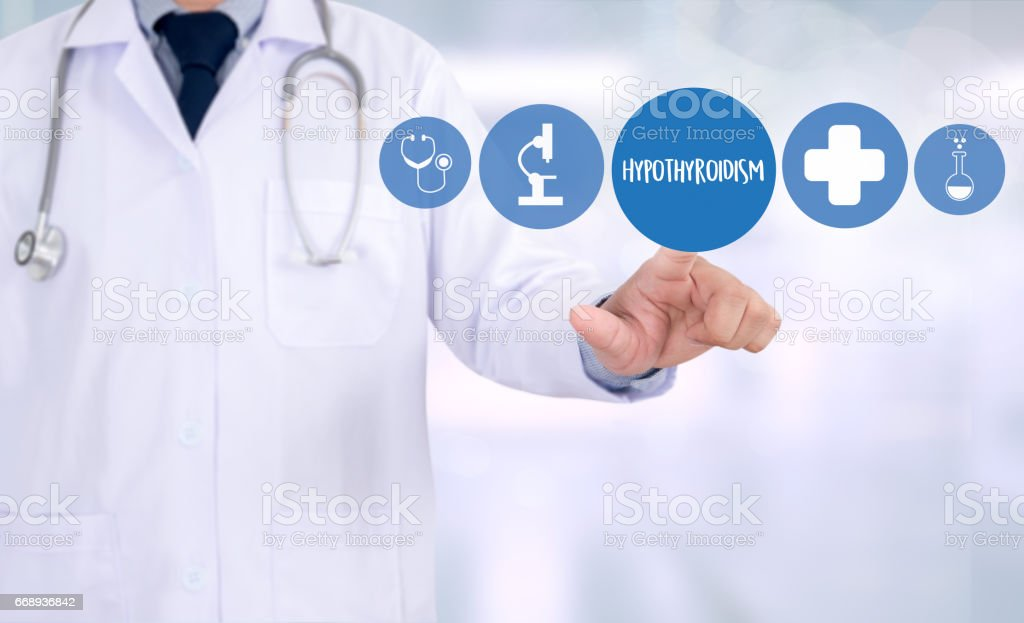 Hypothyroidism doctor hand working Professional Medical Concept stock photo