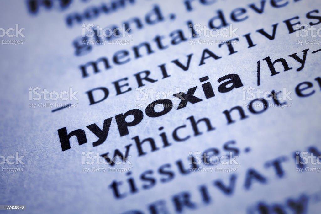 Hypoxia: Dictionary Close-up stock photo