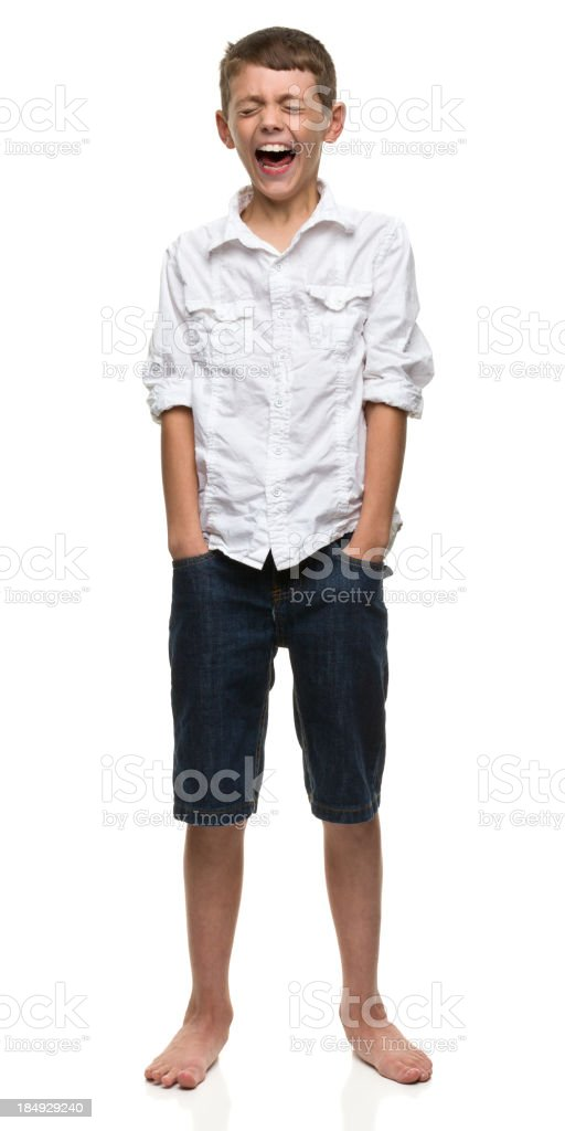 Hysterical Boy Standing Portrait royalty-free stock photo