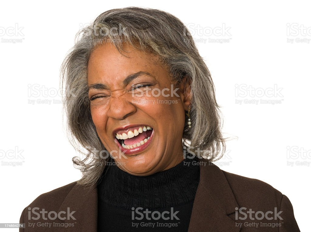 Hysterical Laughing Mature Woman royalty-free stock photo