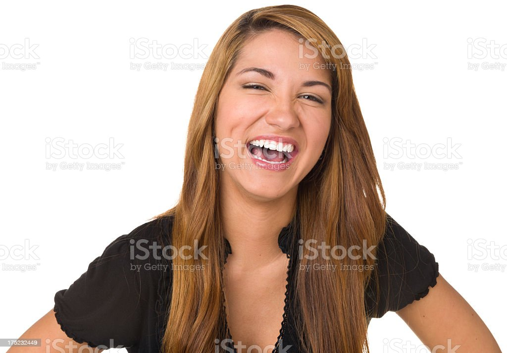 Hysterical Laughing Young Woman stock photo