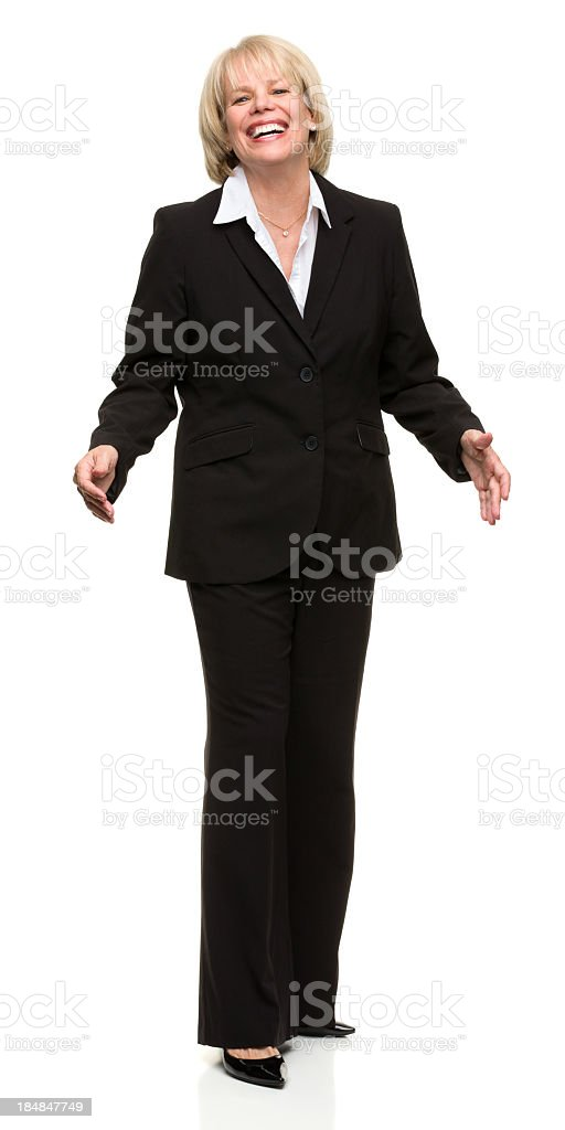 Hysterical Mature Woman in Suit royalty-free stock photo