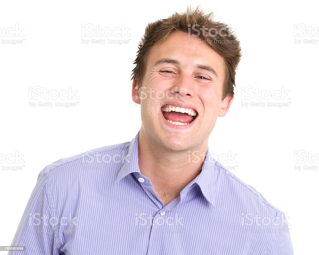 Hysterical Young Man Headshot Portrait royalty-free stock photo