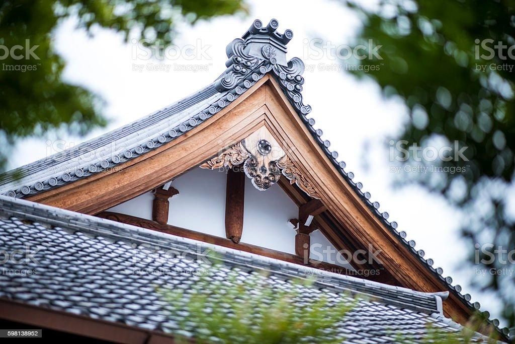 Hyukumanben Chion-Ji Temple roof detail stock photo