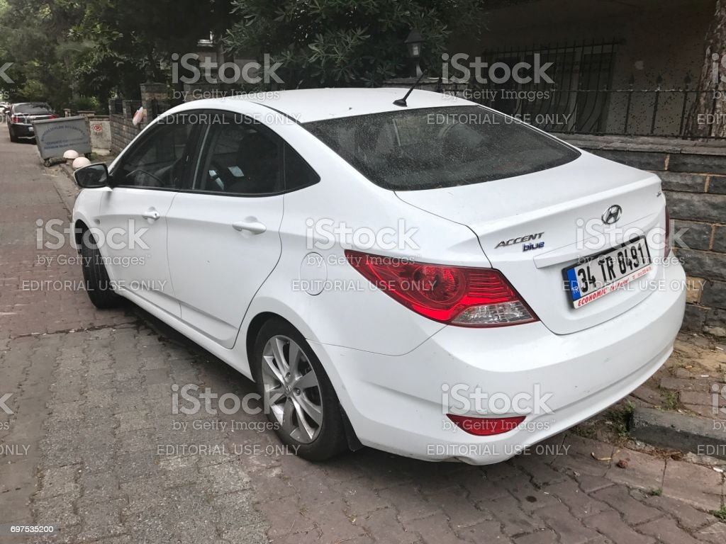Hyundai accent parking in the street stock photo