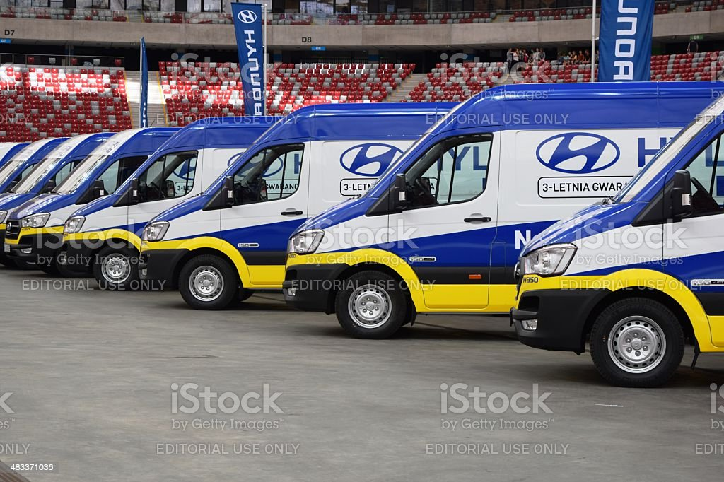 Hyundai commercial vehicles in a row stock photo