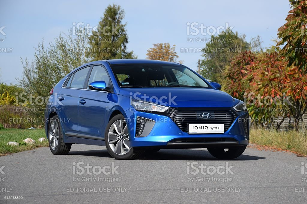 Hyundai Ioniq Hybrid on the street stock photo