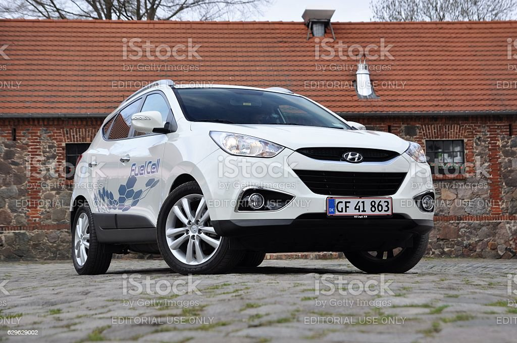 Hyundai ix35 Fuel Cell - car powered by hydrogen stock photo
