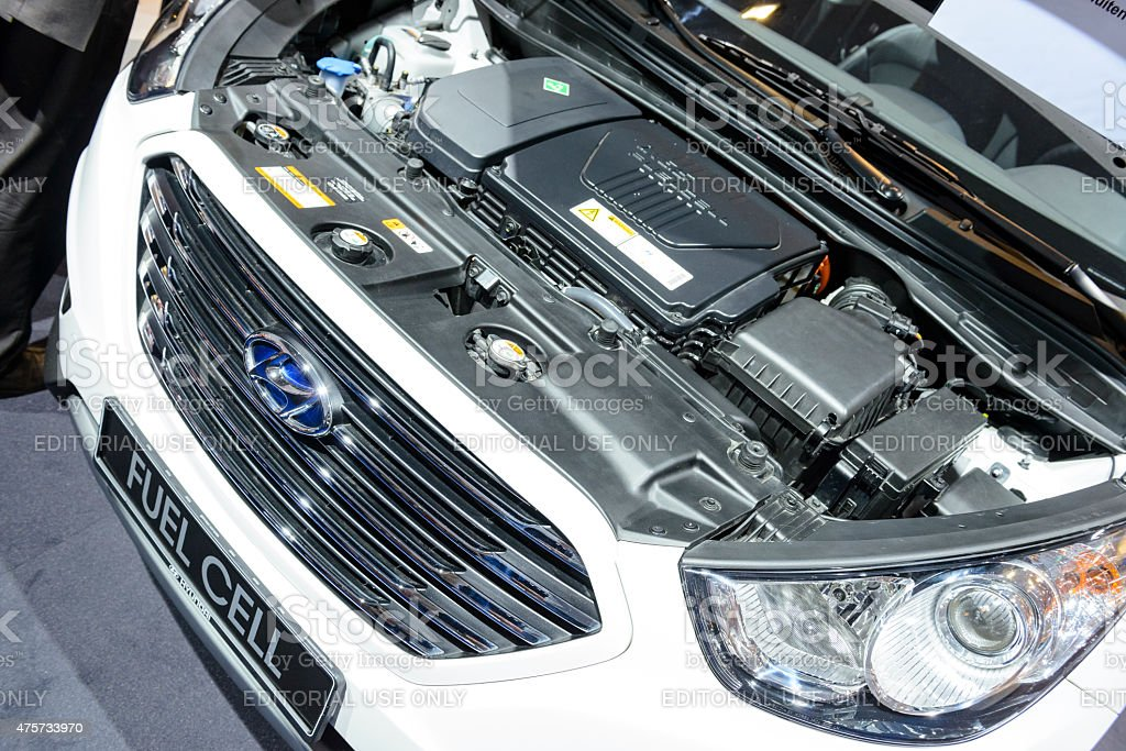 Hyundai ix35 Fuel Cell crossover SUV engine stock photo