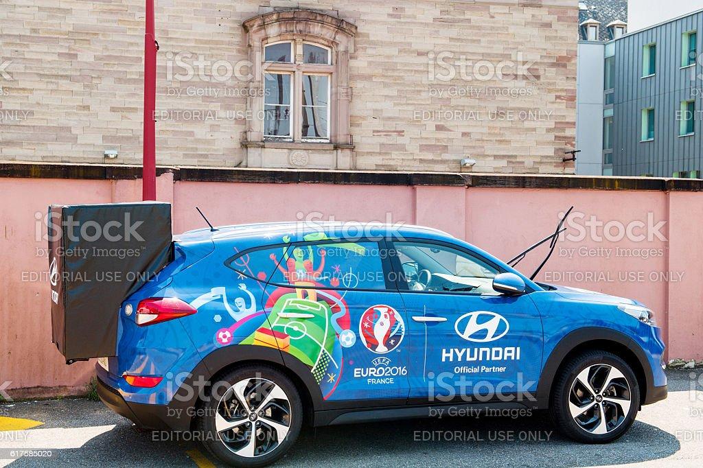 Hyundai Tucson, Official Partner car of UEFA trophy stock photo