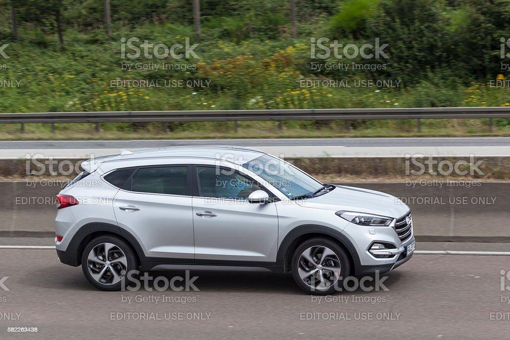 Hyundai Tucson on the road stock photo