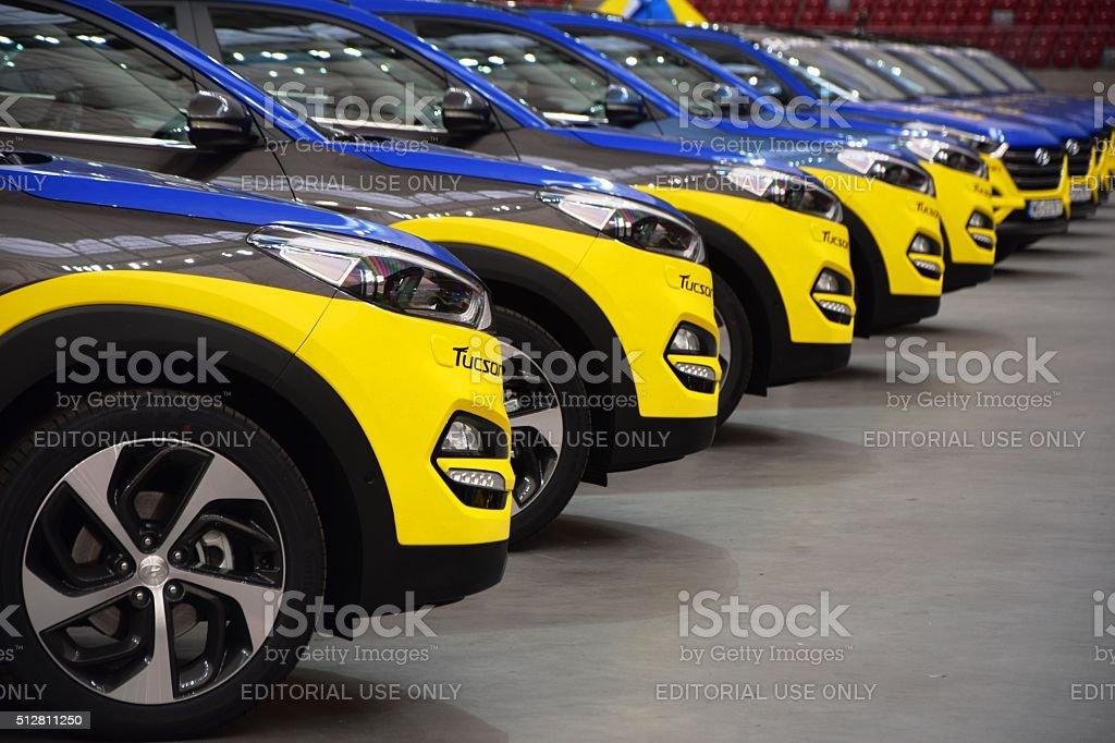 Hyundai vehicles in a row stock photo