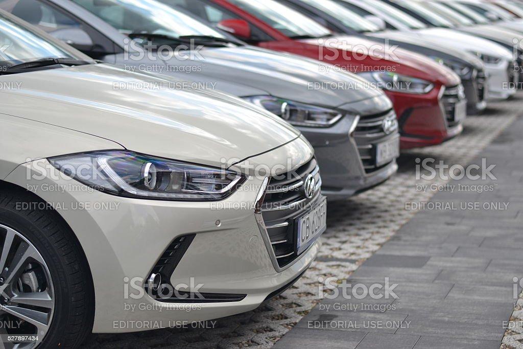 Hyundai vehicles on the parking stock photo