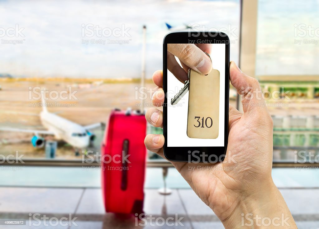 i can book my hotel at the airport stock photo