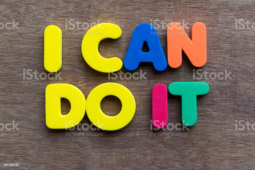 i can do it words in wood background stock photo