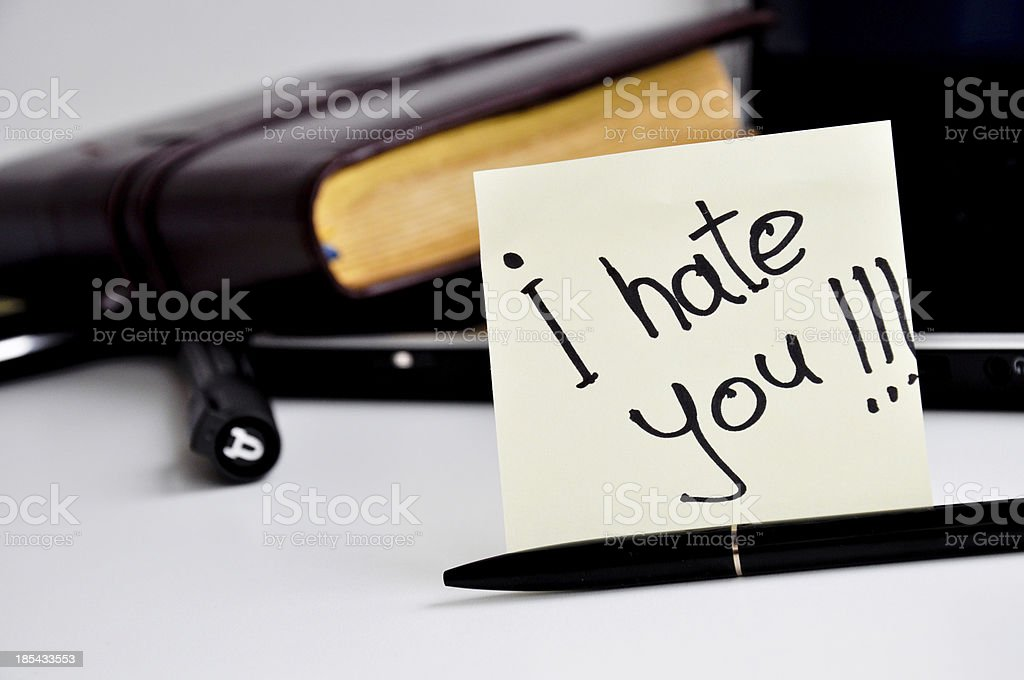 i hate you post card message royalty-free stock photo
