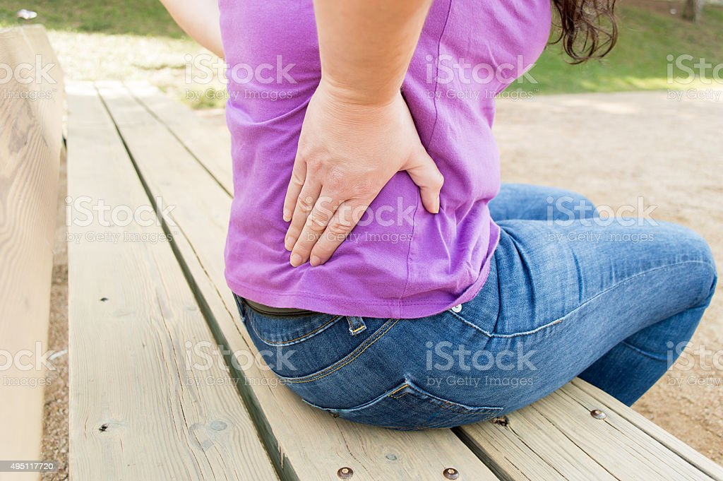 i have a great pain on my back stock photo