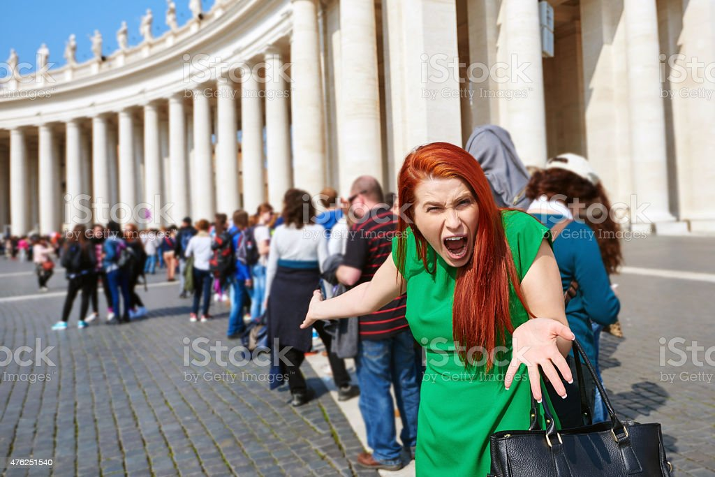 i have to stay at this people queue?! stock photo