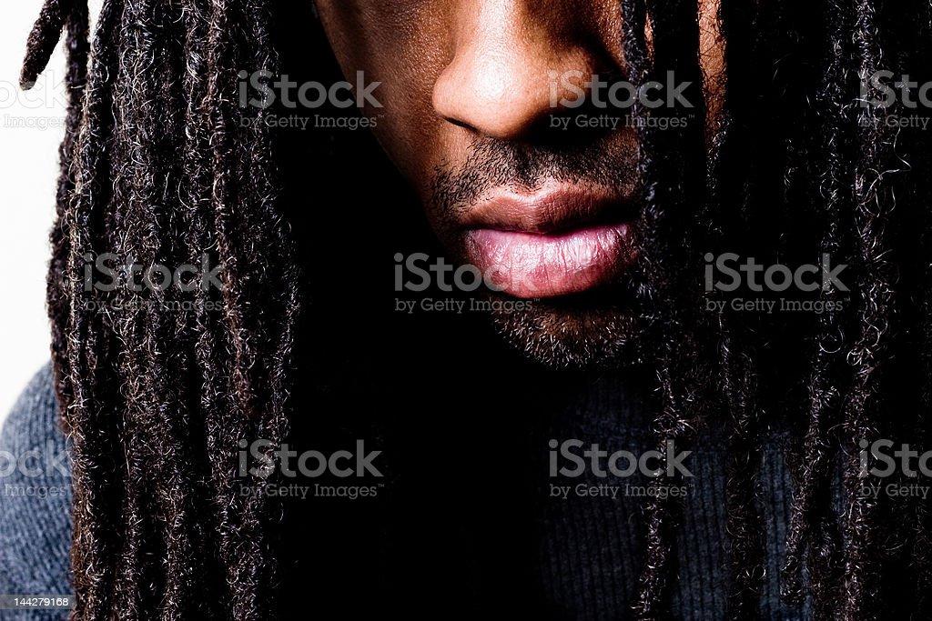 i hide behind hair stock photo