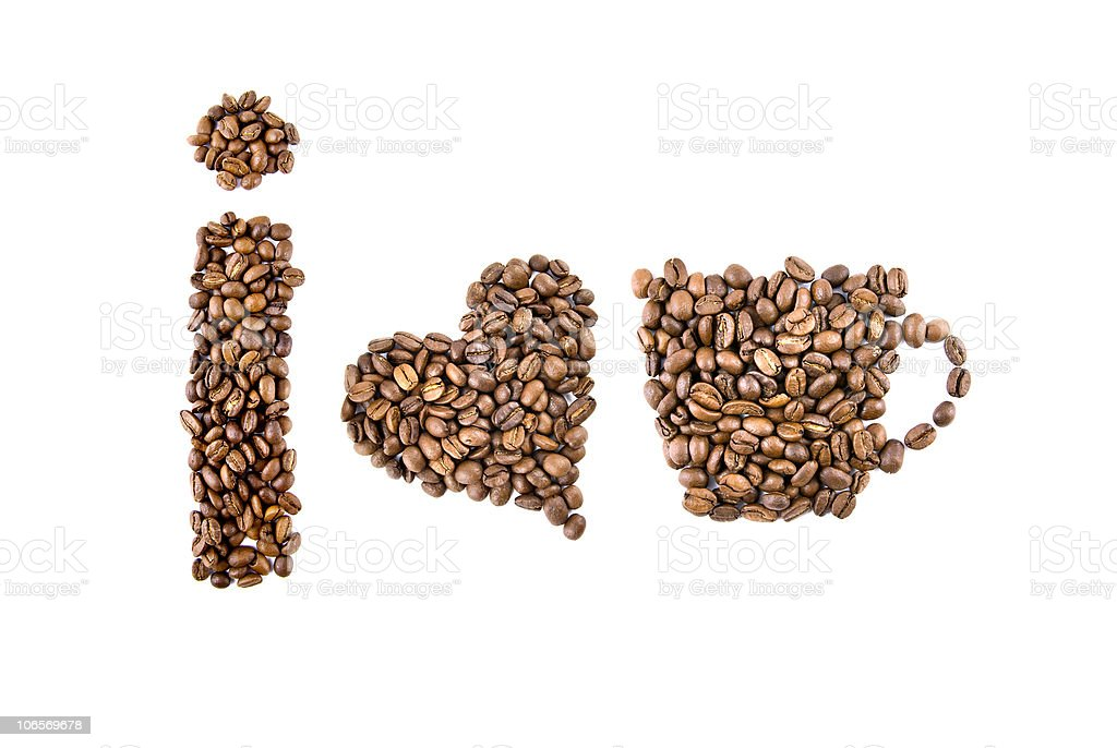 i love coffee symbols from beans royalty-free stock photo