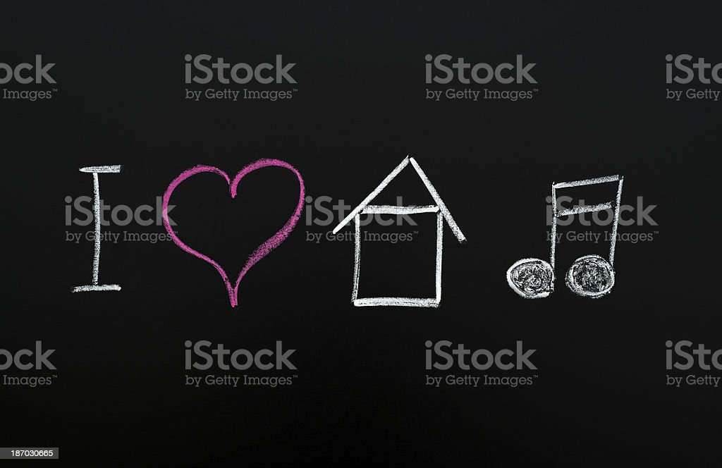 i love house music royalty-free stock vector art