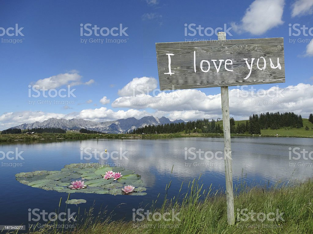 i love you sign with heart in water royalty-free stock photo