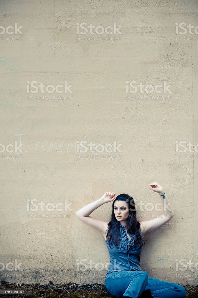 i remember: a young woman remembers in sadness stock photo