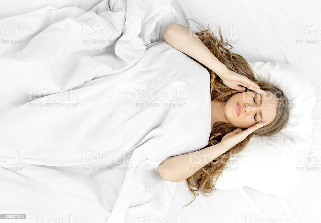 i woke up with a migraine stock photo