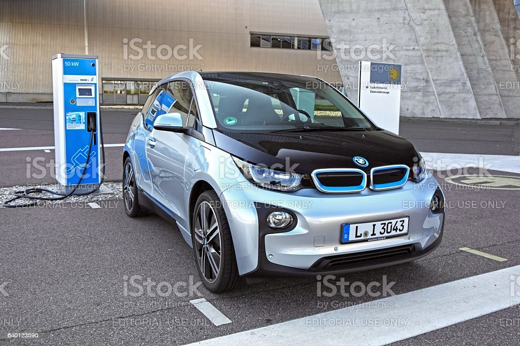 BMW i3 on the electric charging point stock photo