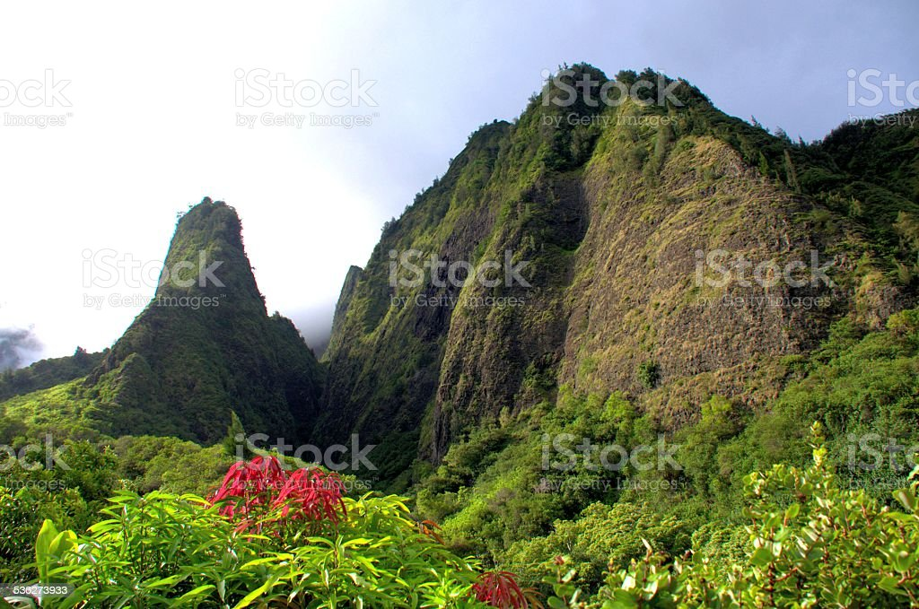 Iao Needle Maui Hawaii stock photo
