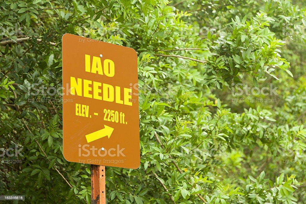 Iao Needle Sign, Maui royalty-free stock photo