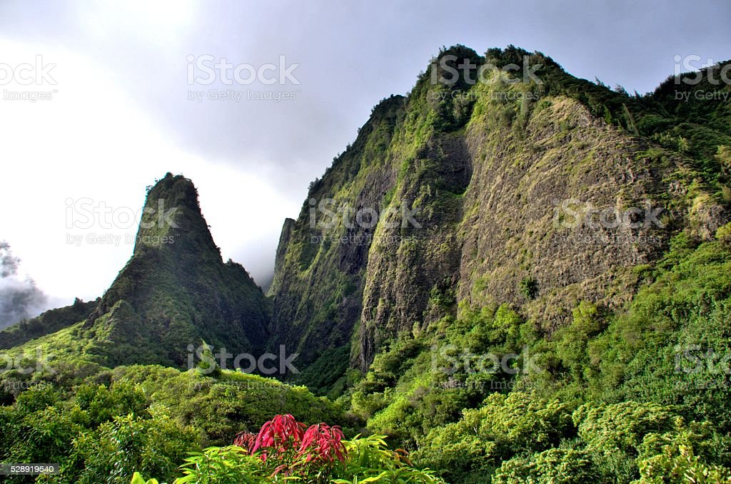 Iao Needle Valley Park, Maui, Hawaii stock photo