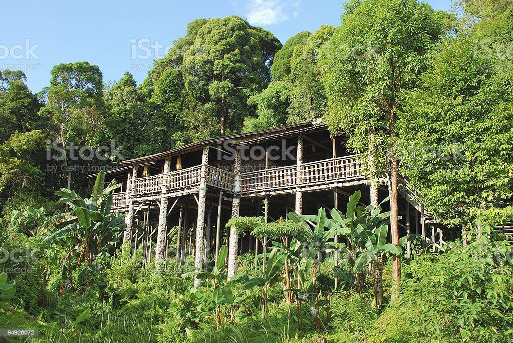 Iban longhouse stock photo