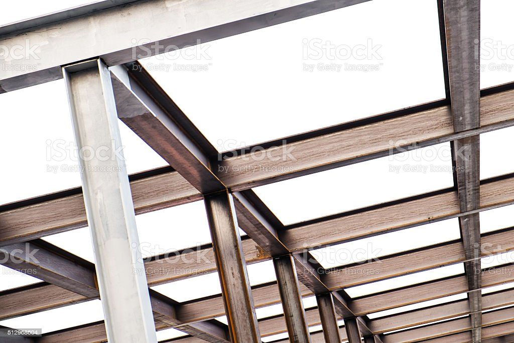 I-Beam steel construction, isolated on white background stock photo