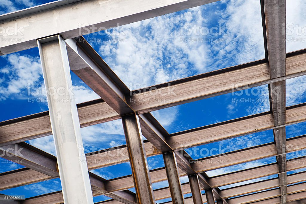 I-Beam steel construction, on blue sky stock photo