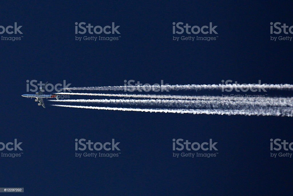 Iberia A340 chemtrail stock photo
