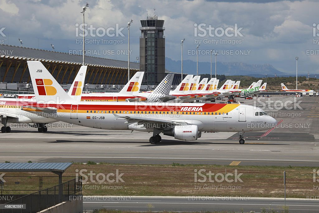 Iberia Airbus A320 in Madrid stock photo