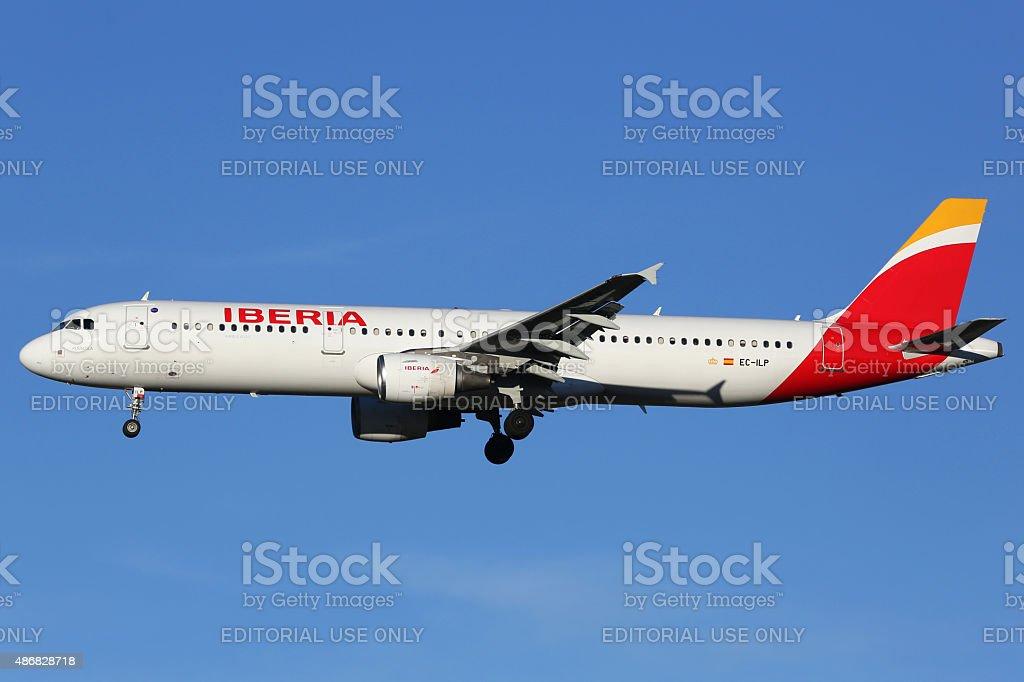 Iberia Airbus A321 airplane Madrid airport stock photo